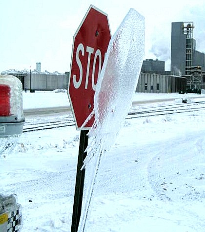 Ice on a Stop Sign