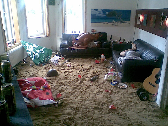 Living Room Party Filled With Sand